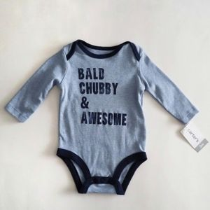 Carter's Long Sleeve Bald Chubby & Awesome Onesie